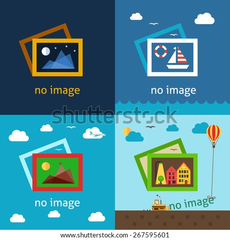 No image creative vector illustrations. Using for decorating empty spaces where image or photo should be. - stock vector