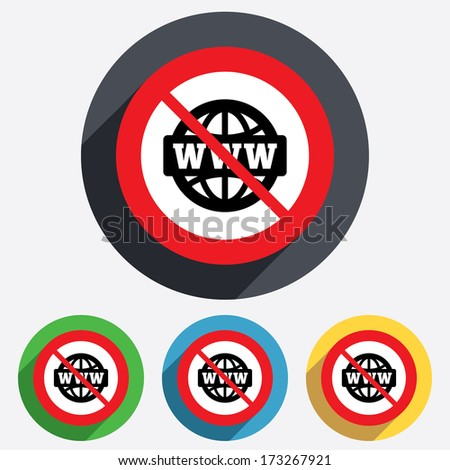 No internet. WWW sign icon. World wide web symbol. Globe. Red circle prohibition sign. Stop flat symbol. Vector