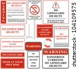 No lifeguard On duty sign set 1/2. Isolated on white. Vector - stock vector