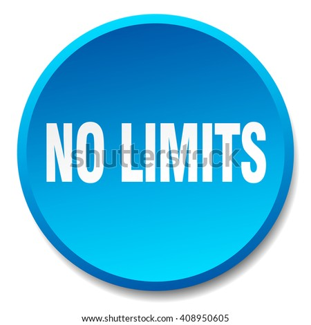 no limits blue round flat isolated push button