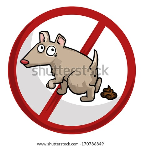 No littering, dog with a  poo beside him sign, vector illustration - stock vector
