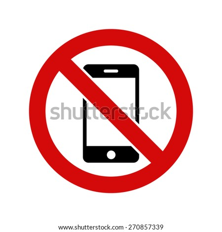 No Mobile cell phone, warning sign, vector illustration - stock vector