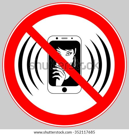 no mobile phone allowed sign, turn off mobile phone, no cell phone sign - stock vector