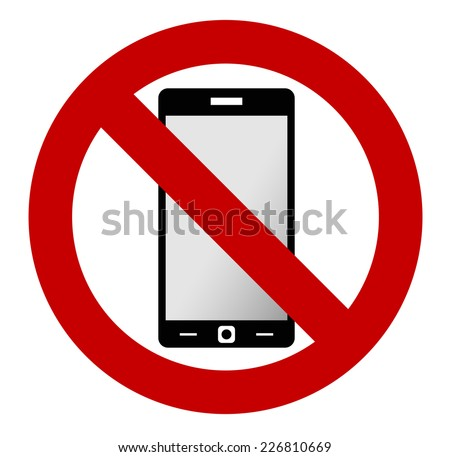 No mobile phone allowed sign. Turn off mobile phone. No cell phone sign. Vector illustration, phone and sign are on separate layers, you can simply change color.
