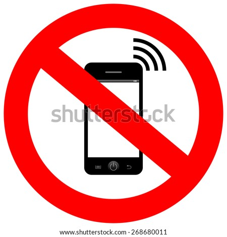 No mobile phone sign - stock vector