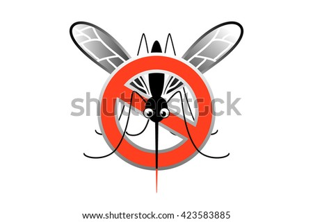 No mosquito sign isolated on white background. Mosquitoes stop sign - mosquito in a red crossed out circle. Protect themselves from diseases that spread by mosquitoes. Mosquito warning danger - stock vector