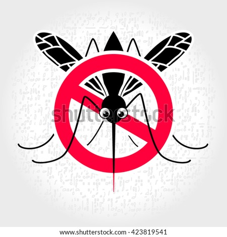 No mosquito sign. Mosquitoes stop sign - mosquito in a red crossed out circle. Protect themselves from diseases that spread by mosquitoes. Sign with mosquito warning danger - stock vector