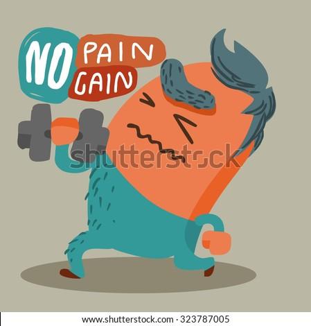 No Pain No Gain. Vector illustration Flat - stock vector