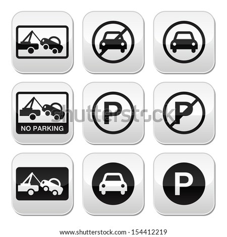 No parking, cars buttons set  - stock vector