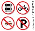 No parking, No bicycle, No truck and railway sign. - stock photo