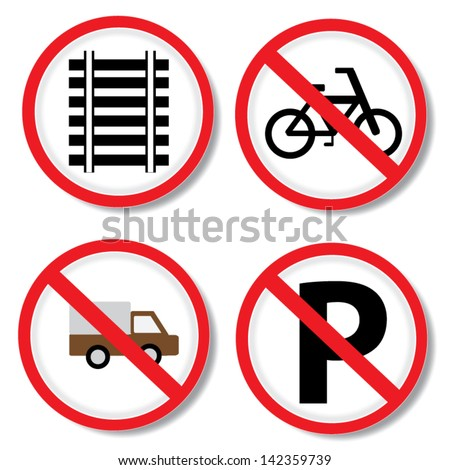 No parking, No bicycle, No truck and railway sign. - stock vector