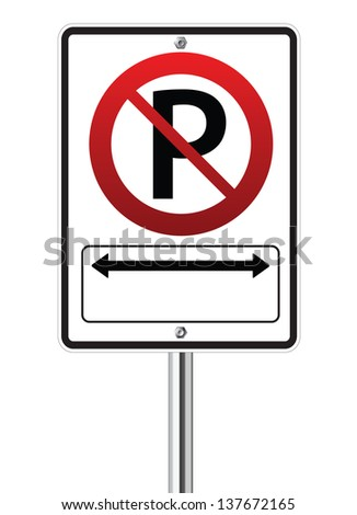 No parking traffic sign on white