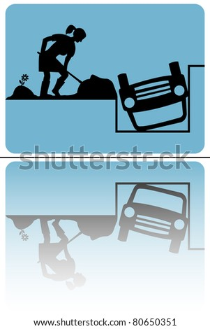 No parking traffic sign woman dig the car - reflected - stock vector