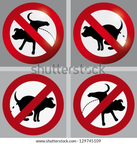 No pee / No poop – information signs for dog owners - stock vector