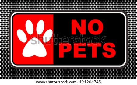 No Pets, sticker - stock vector