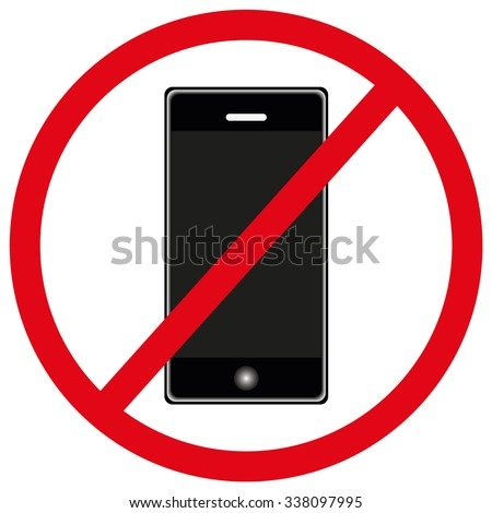 No phone allowed red sign on white background. Eps file available.