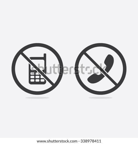 No Phone or No Call Vector Sign Illustration - stock vector
