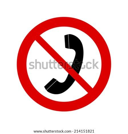 no phone receiver sign - stock vector