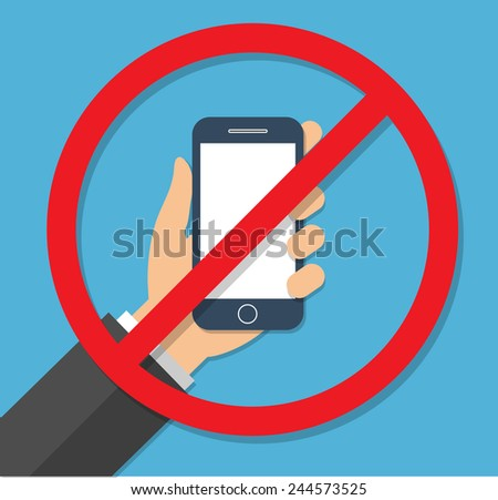 No phone sign . Flat design - stock vector