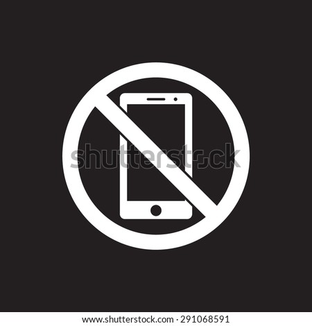 No phone sign icon, vector illustration. Flat design style - stock vector