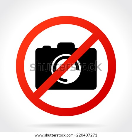 No Photo Camera Sign, Icon. Vector Illustration - stock vector