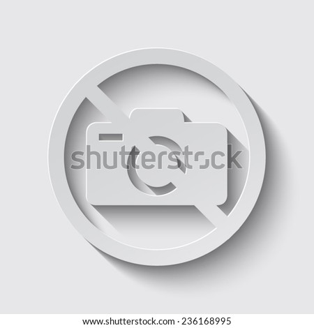 No photo camera vector sign isolated with shadow on a grey background - stock vector