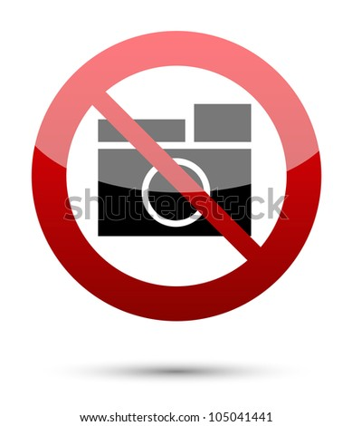 No photograph sign on white - stock vector