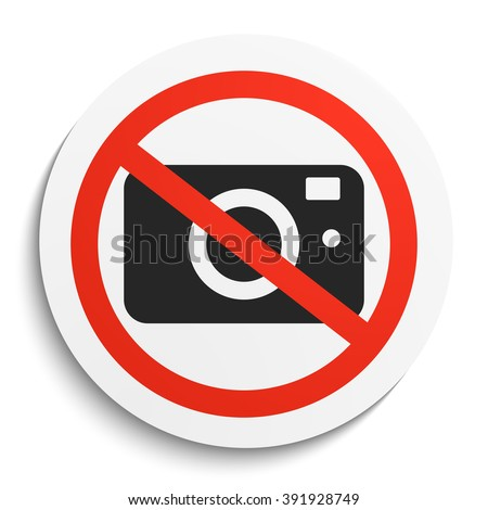 No Photos Prohibition Sign on White Round Plate. No Photo Camera forbidden symbol.  No Photos Vector Illustration on white background - stock vector