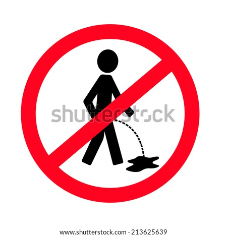 No pissing sign vector man - stock vector