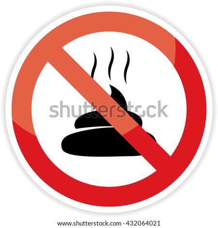 No poop sign on white background.vector illustration. - stock vector
