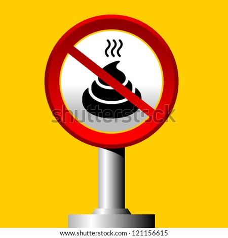 no poop sign on yellow background - stock vector