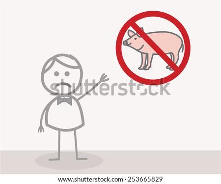 No Pork - stock vector