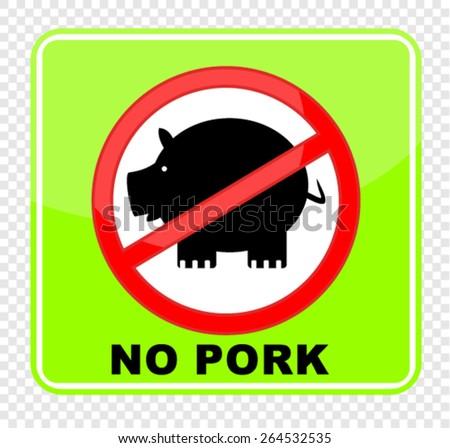 no pork, sticker - stock vector