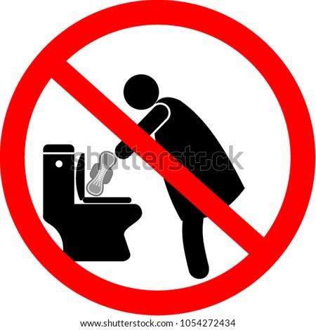 No Sanitary Pad Down Toilet Stock Vector 1054272434