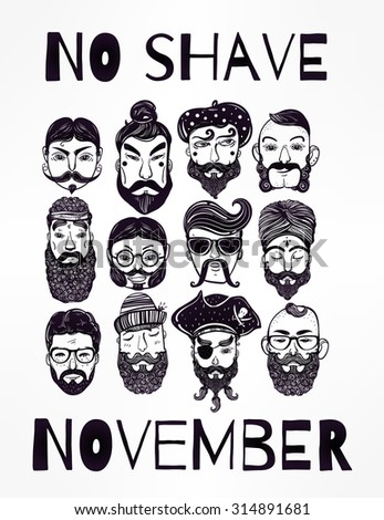 No Shave November - holiday charity action set or poster. Hand drawn men from different nations and professions with fun facial hair: beard, mustache, sideburns. Isolated vector collection.