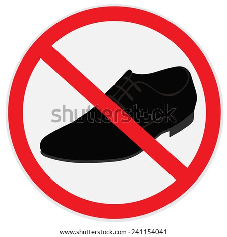 No, shoes, sign - stock vector