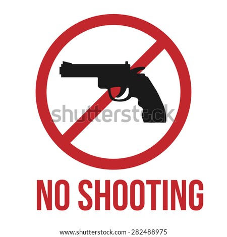 No shooting icon, gun silhouette. Simple vector illustration. - stock vector