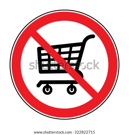 No Shopping Cart Sign. Red round No Shopping Cart icon. Illustration of a forbidden signal. No trolley allowed symbol. Prohibited symbol isolated on white background. Great for any use. Stock Vector - stock vector