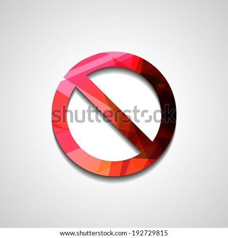 No Sign , abstract style illustration, isolated symbol - stock vector