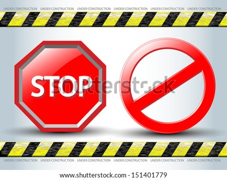No Sign and Stop sign.Vector EPS10. - stock vector