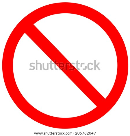 No Sign. Vector on white background - stock vector