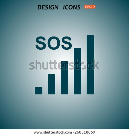 no signal, poor signal strength, signal strength indicator. icon. vector design - stock vector