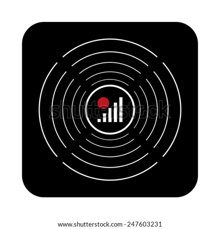 no signal, poor signal strength, signal strength indicator on a black background with white circles, vector, EPS 10 - stock vector