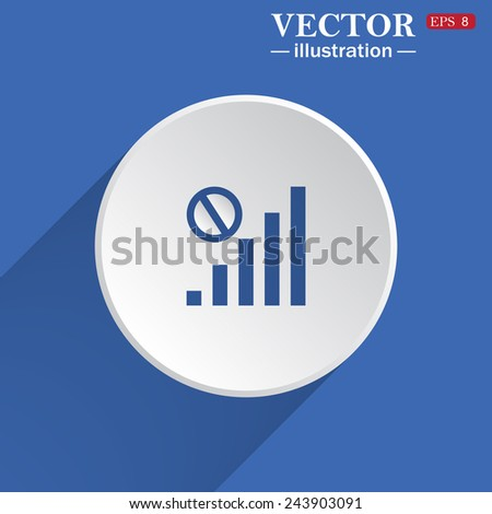 no signal, poor signal strength, signal strength indicator, white circle on a blue background with shadow. Vector illustration, EPS 8 - stock vector