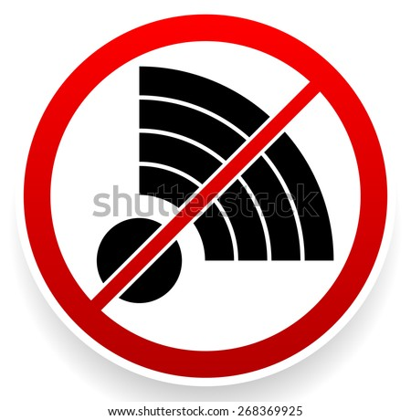 No Signal Sign. Bad antenna, No Internet connection concepts. Jamming, Interference icon - stock vector