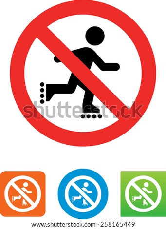 No skating allowed symbol for download. Vector icons for video, mobile apps, Web sites and print projects.  - stock vector