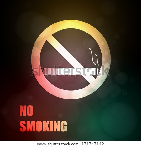 no smoking abstract light sign with cigarette - stock vector