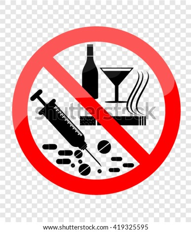 No Smoking, Alcohol and Drugs - stock vector