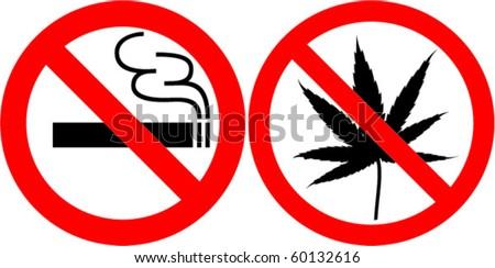 no smoking and no cannabis - stock vector