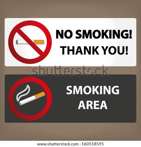 No smoking and Smoking labels - stock vector